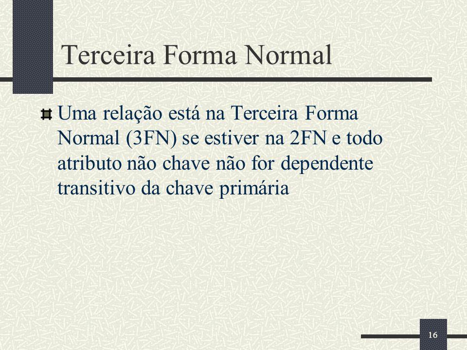 16 Terceira Forma Normal Uma relação está na Terceira Forma Normal (3FN) se estiver na 2FN e todo atributo não chave não for dependente transitivo da