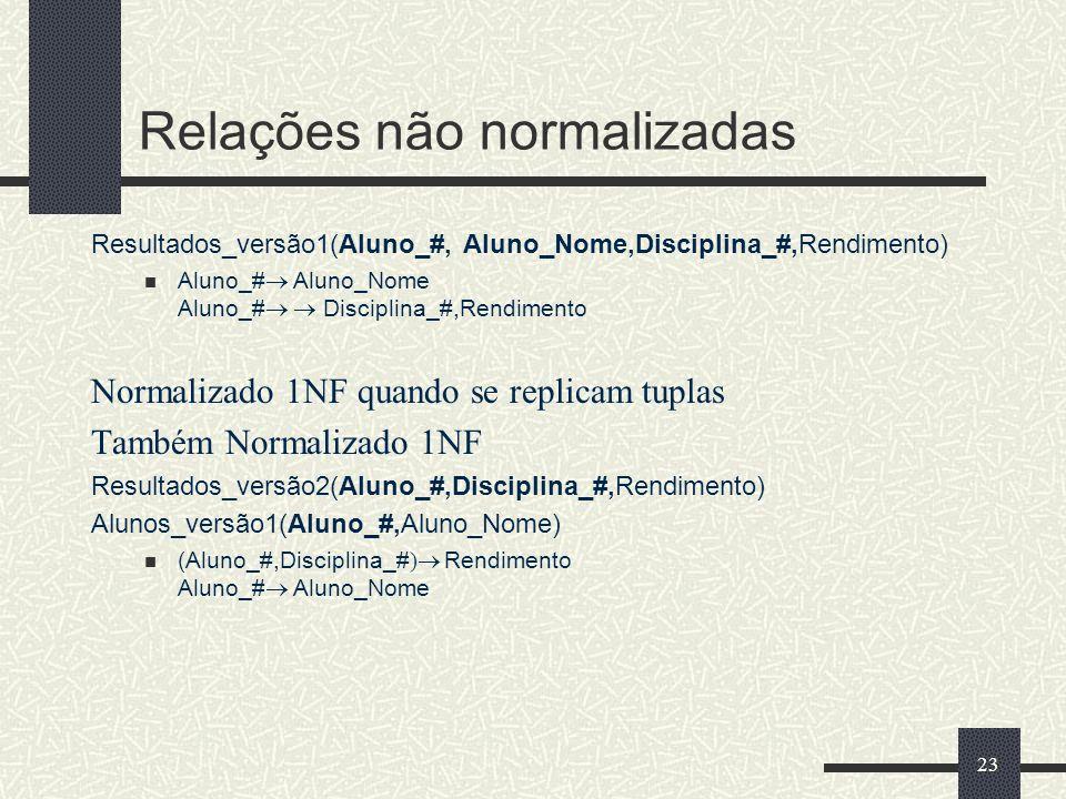 23 Relações não normalizadas Resultados_versão1(Aluno_#, Aluno_Nome,Disciplina_#,Rendimento) Aluno_# Aluno_Nome Aluno_# Disciplina_#,Rendimento Normal