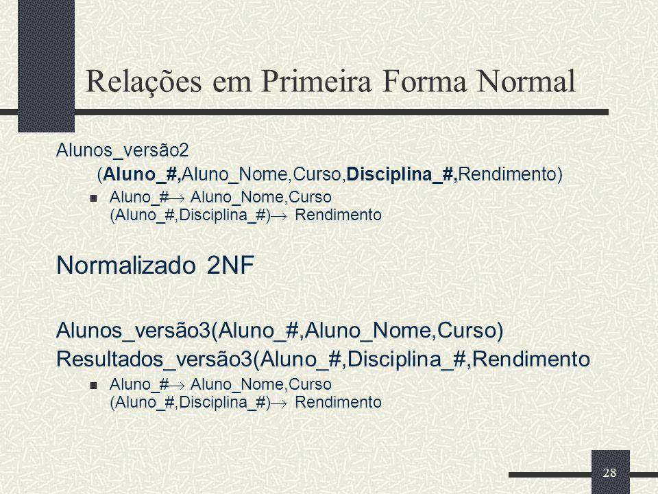 28 Relações em Primeira Forma Normal Alunos_versão2 (Aluno_#,Aluno_Nome,Curso,Disciplina_#,Rendimento) Aluno_# Aluno_Nome,Curso (Aluno_#,Disciplina_#)