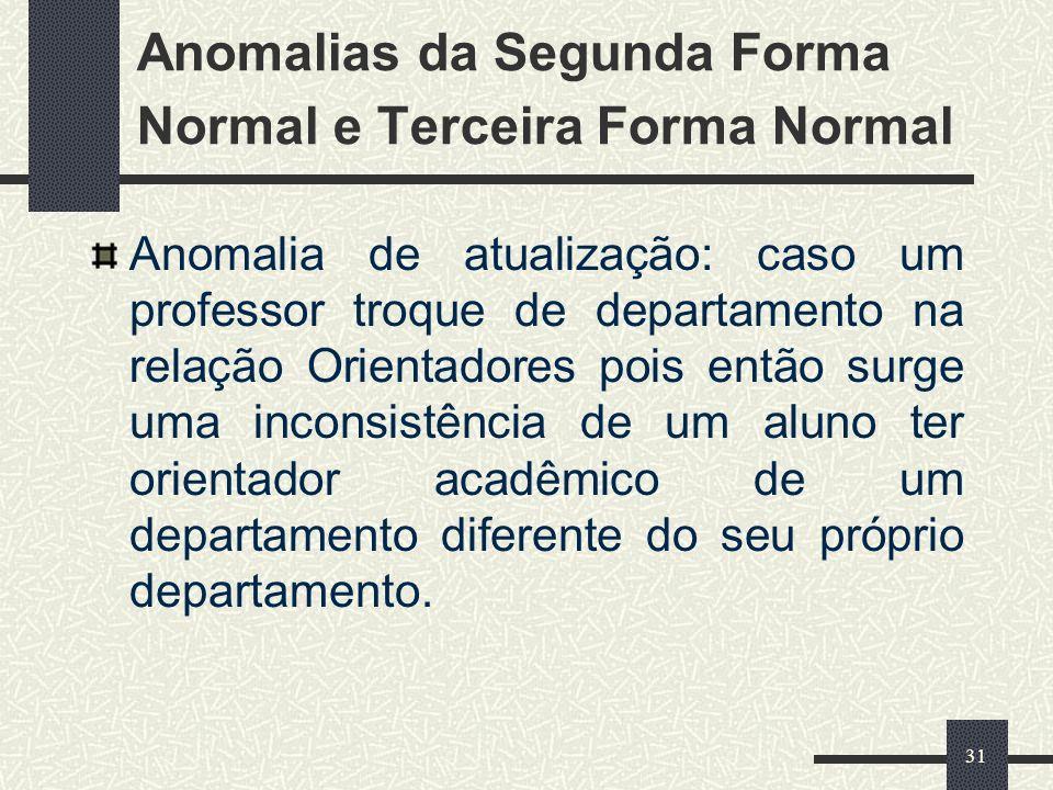 31 Anomalias da Segunda Forma Normal e Terceira Forma Normal Anomalia de atualização: caso um professor troque de departamento na relação Orientadores