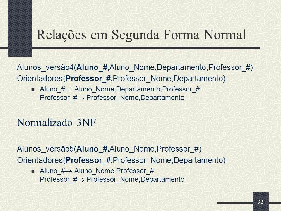 32 Relações em Segunda Forma Normal Alunos_versão4(Aluno_#,Aluno_Nome,Departamento,Professor_#) Orientadores(Professor_#,Professor_Nome,Departamento)