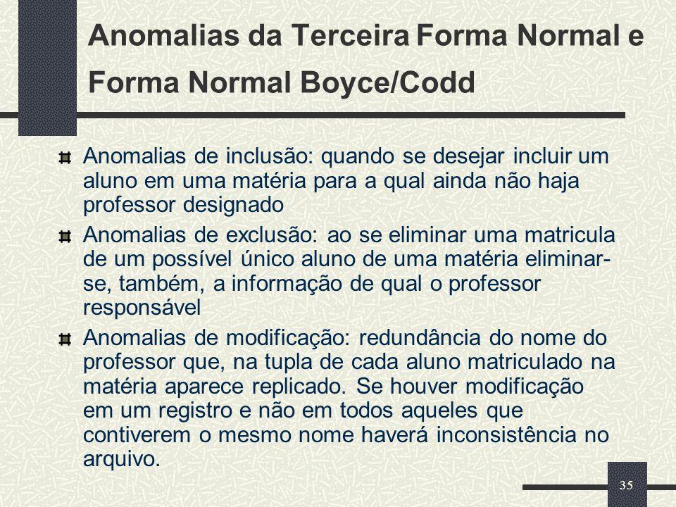 35 Anomalias da Terceira Forma Normal e Forma Normal Boyce/Codd Anomalias de inclusão: quando se desejar incluir um aluno em uma matéria para a qual a