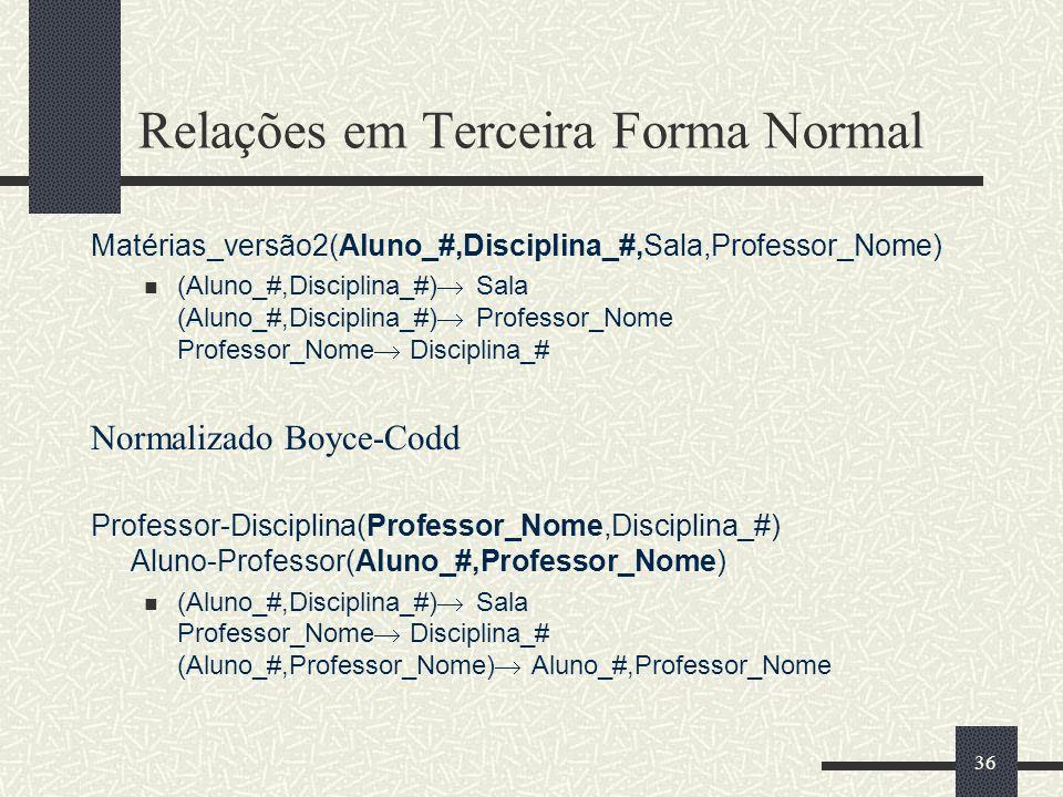 36 Relações em Terceira Forma Normal Matérias_versão2(Aluno_#,Disciplina_#,Sala,Professor_Nome) (Aluno_#,Disciplina_#) Sala (Aluno_#,Disciplina_#) Pro