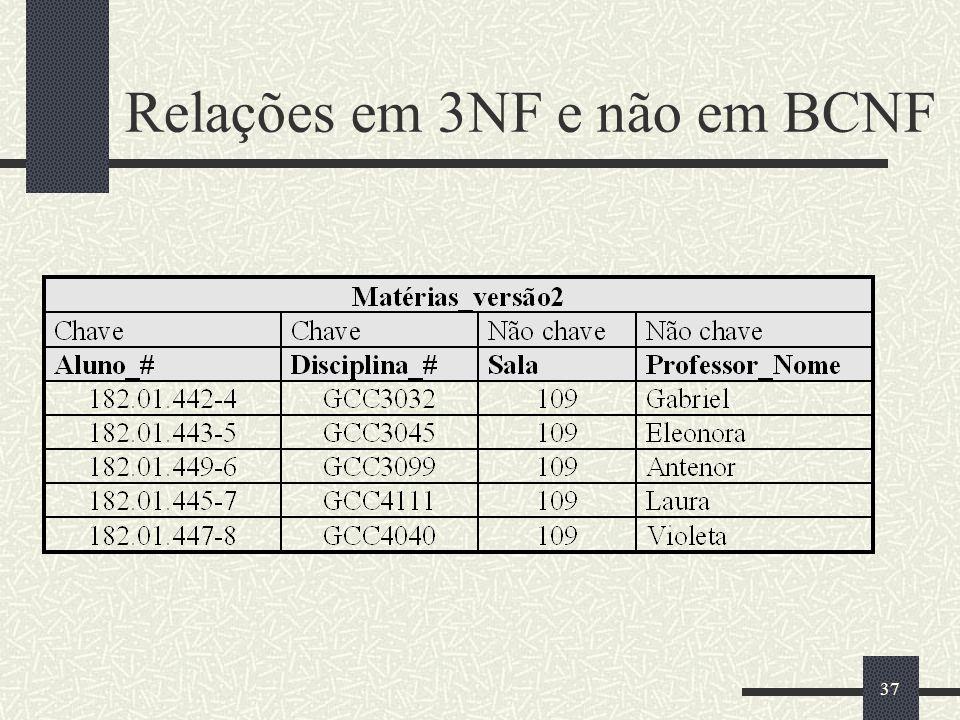 37 Relações em 3NF e não em BCNF