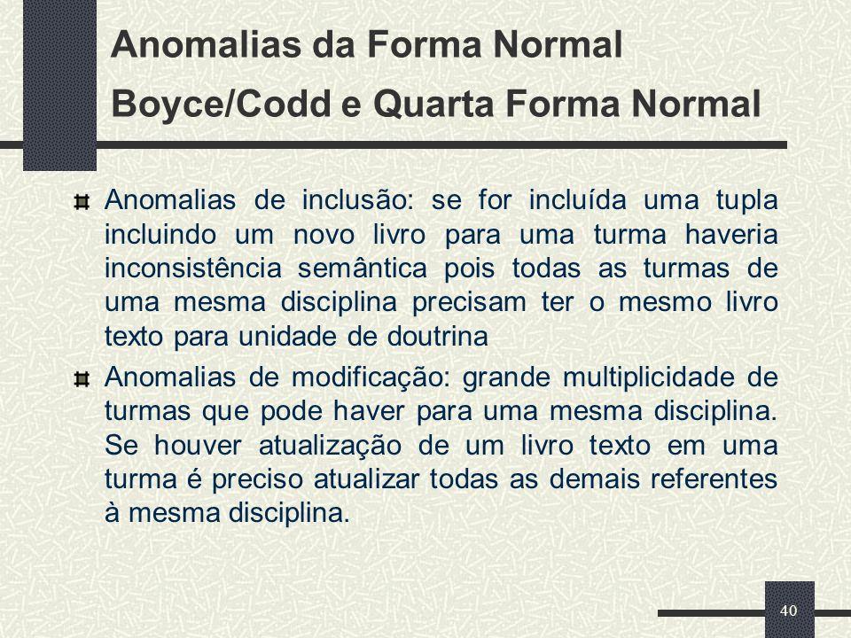 40 Anomalias da Forma Normal Boyce/Codd e Quarta Forma Normal Anomalias de inclusão: se for incluída uma tupla incluindo um novo livro para uma turma