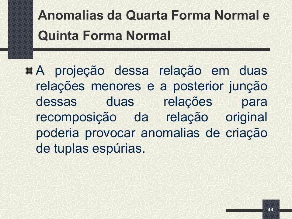 44 Anomalias da Quarta Forma Normal e Quinta Forma Normal A projeção dessa relação em duas relações menores e a posterior junção dessas duas relações