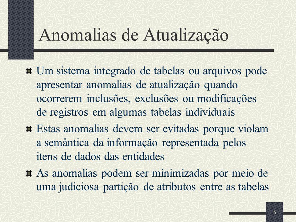 5 Anomalias de Atualização Um sistema integrado de tabelas ou arquivos pode apresentar anomalias de atualização quando ocorrerem inclusões, exclusões