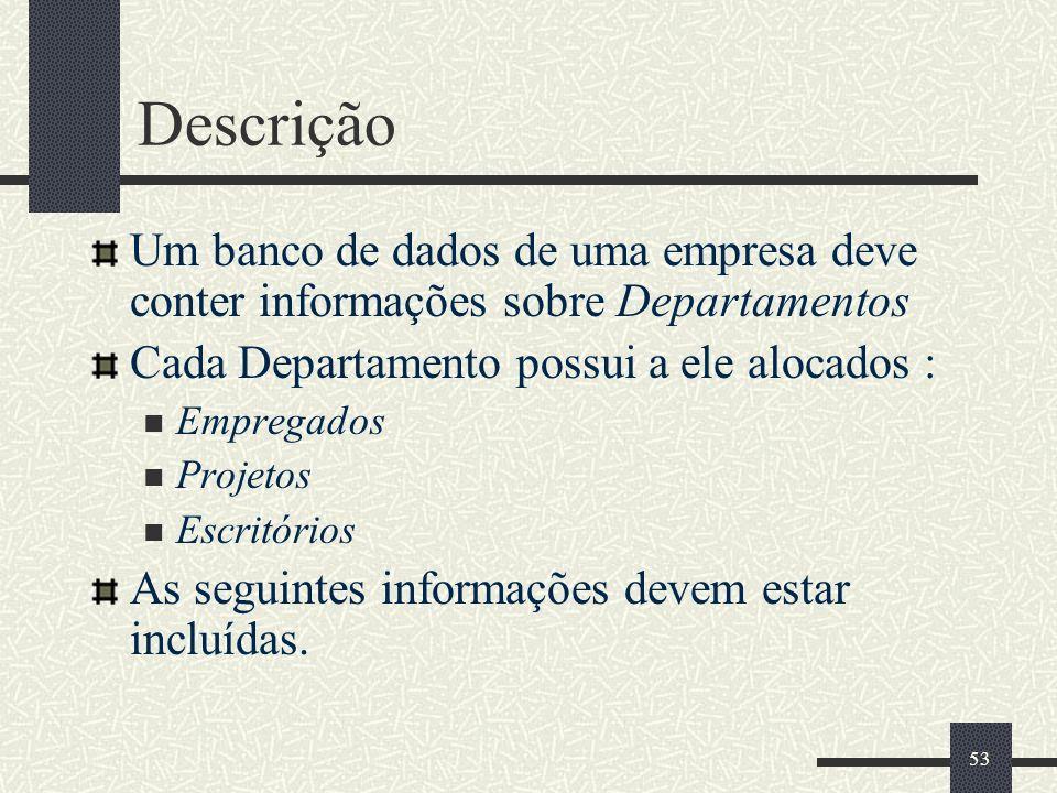 53 Descrição Um banco de dados de uma empresa deve conter informações sobre Departamentos Cada Departamento possui a ele alocados : Empregados Projeto