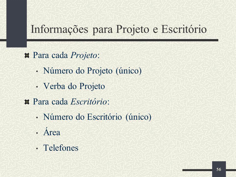 56 Informações para Projeto e Escritório Para cada Projeto: Número do Projeto (único) Verba do Projeto Para cada Escritório: Número do Escritório (úni