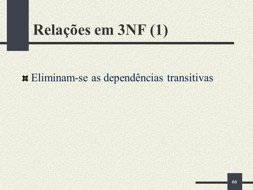66 Relações em 3NF (1) Eliminam-se as dependências transitivas