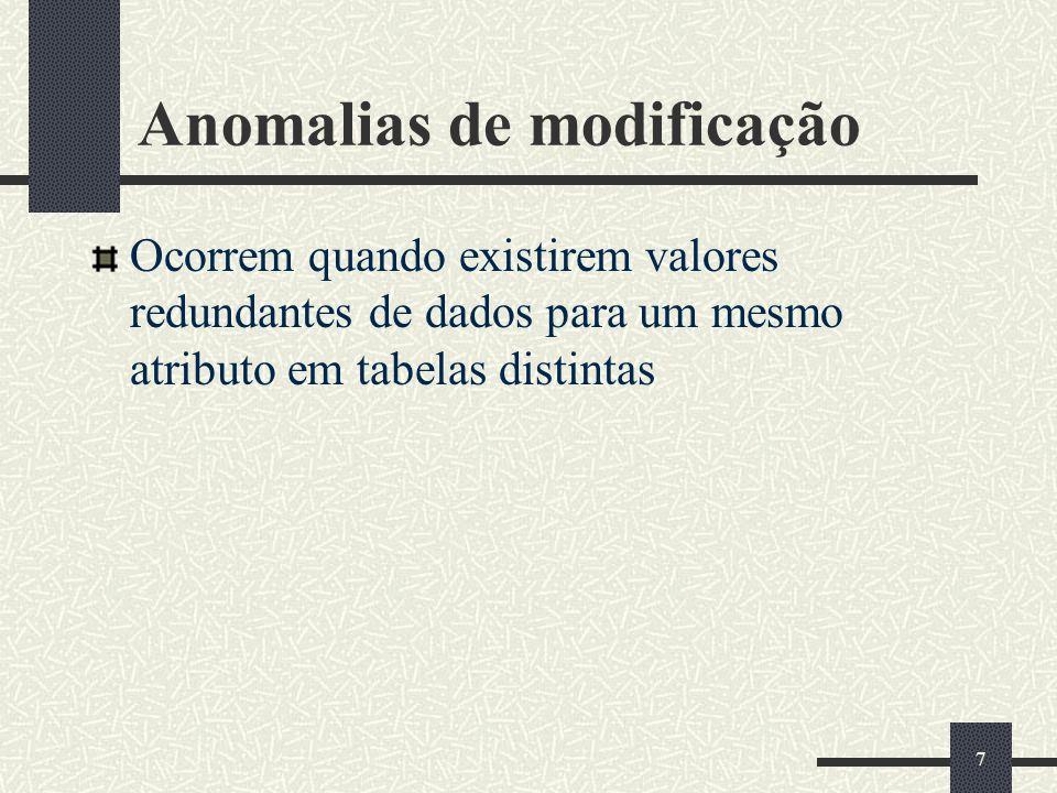 7 Anomalias de modificação Ocorrem quando existirem valores redundantes de dados para um mesmo atributo em tabelas distintas
