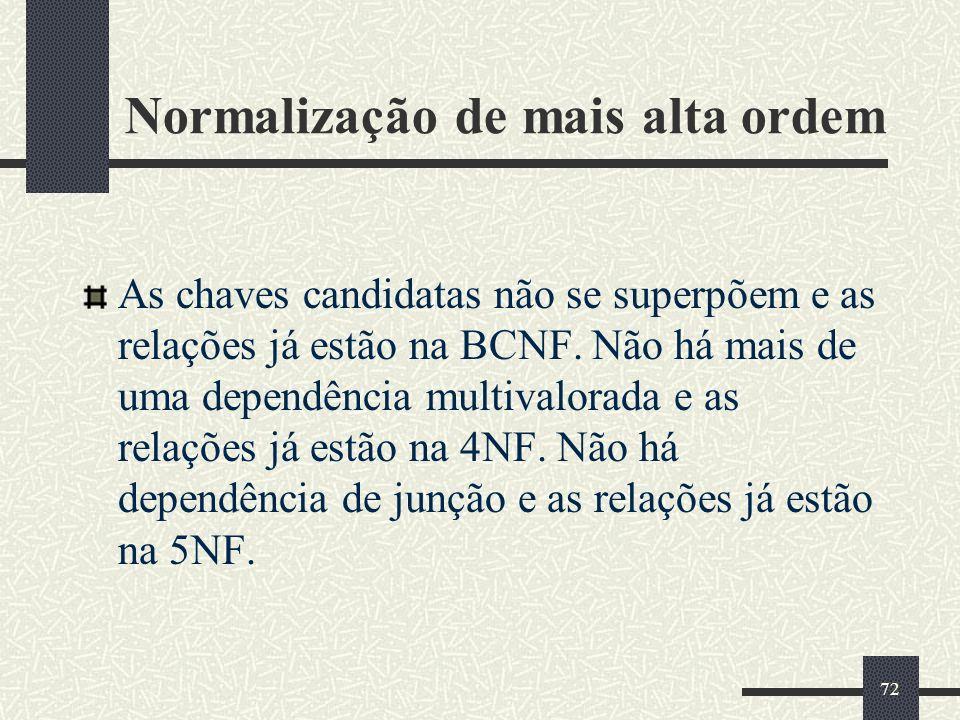 72 Normalização de mais alta ordem As chaves candidatas não se superpõem e as relações já estão na BCNF. Não há mais de uma dependência multivalorada
