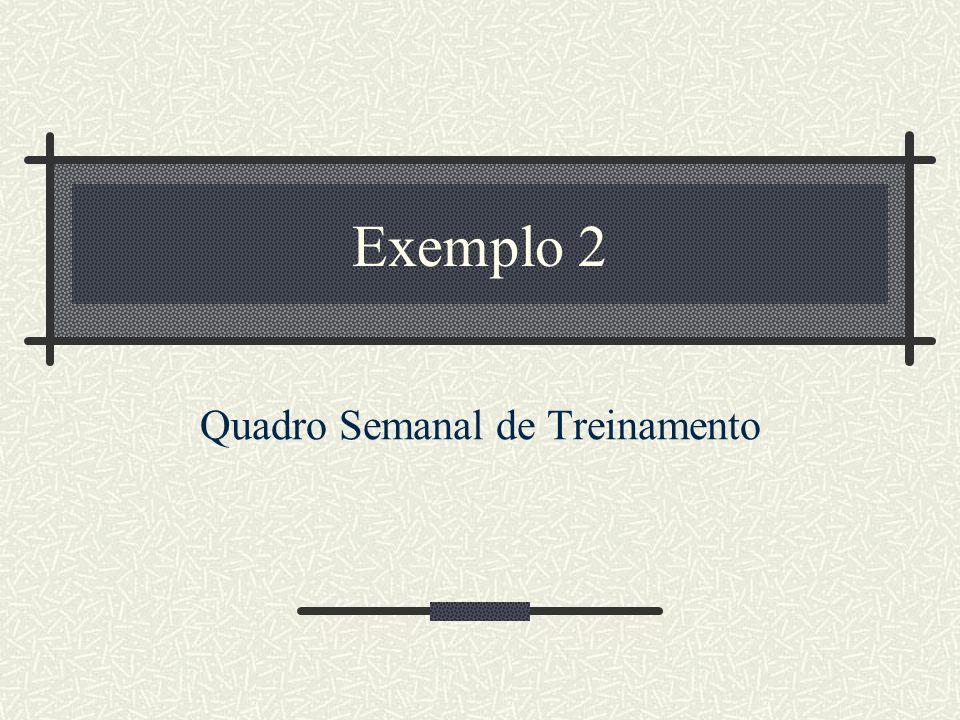Exemplo 2 Quadro Semanal de Treinamento
