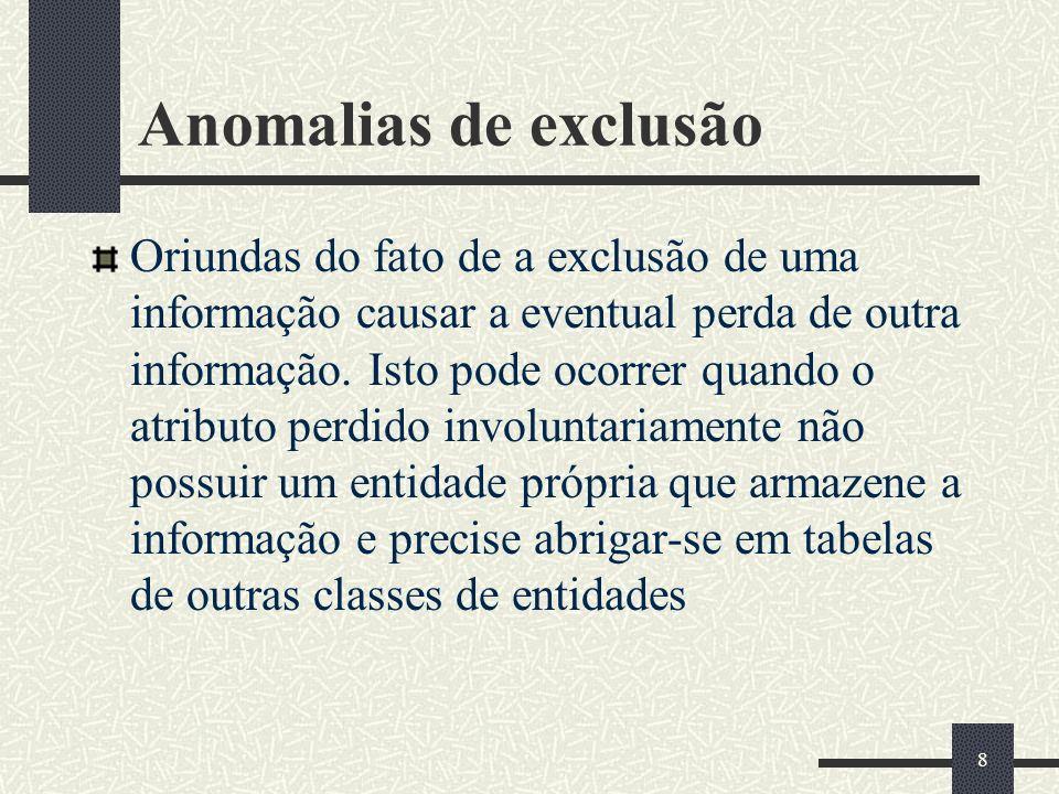 8 Anomalias de exclusão Oriundas do fato de a exclusão de uma informação causar a eventual perda de outra informação. Isto pode ocorrer quando o atrib