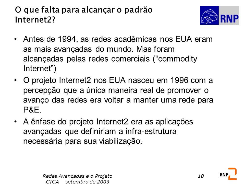 Redes Avançadas e o Projeto GIGA setembro de 2003 10 O que falta para alcançar o padrão Internet2? Antes de 1994, as redes acadêmicas nos EUA eram as