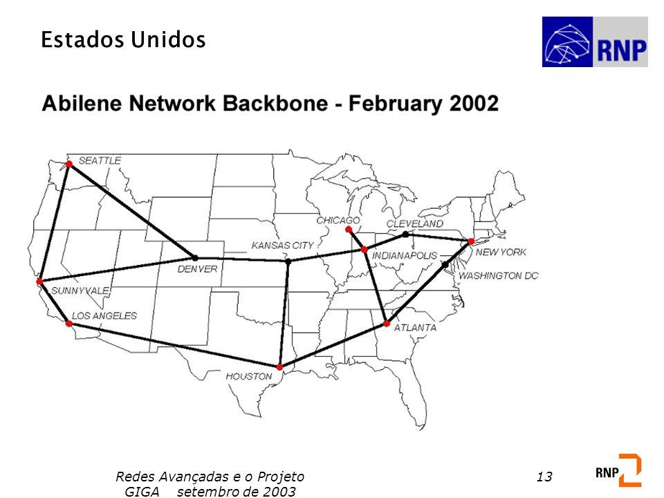 Redes Avançadas e o Projeto GIGA setembro de 2003 13 Estados Unidos