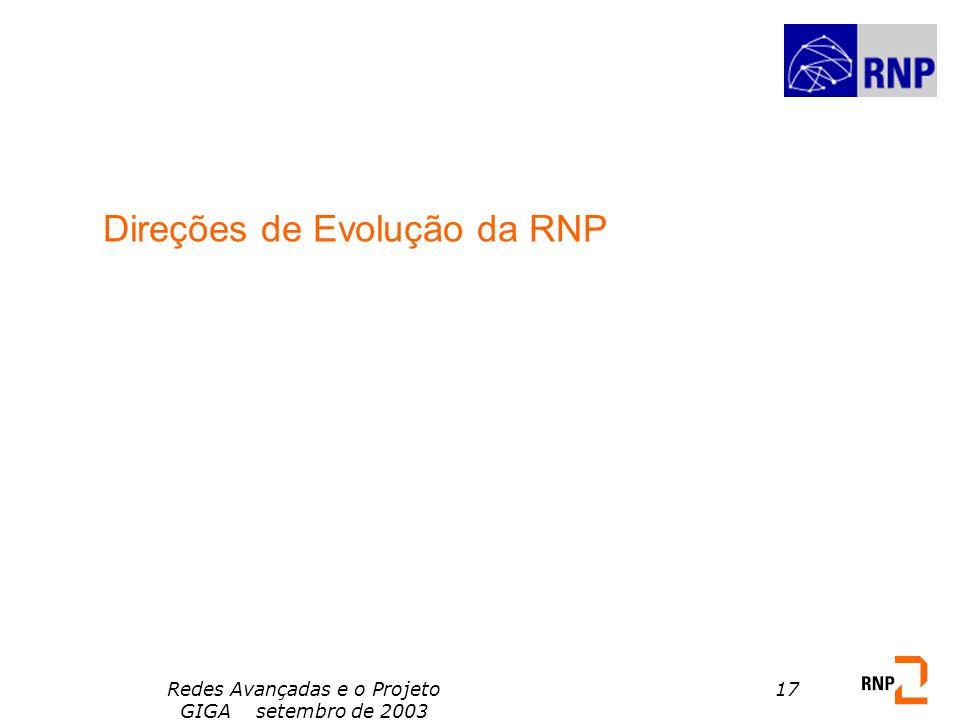 Redes Avançadas e o Projeto GIGA setembro de 2003 17 Direções de Evolução da RNP