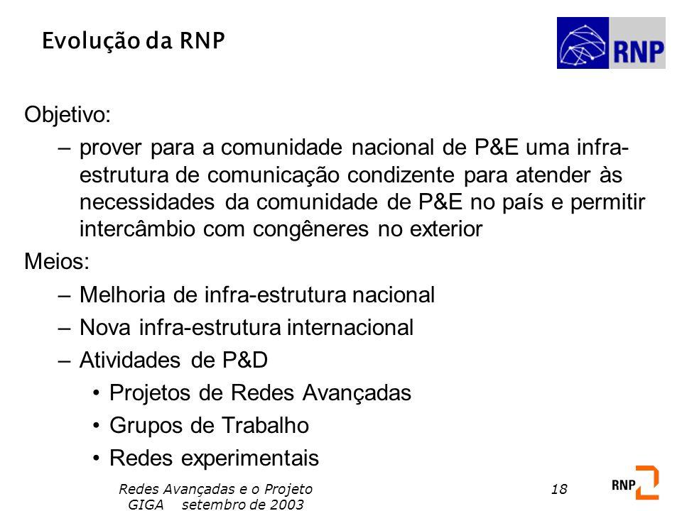 Redes Avançadas e o Projeto GIGA setembro de 2003 18 Objetivo: –prover para a comunidade nacional de P&E uma infra- estrutura de comunicação condizent
