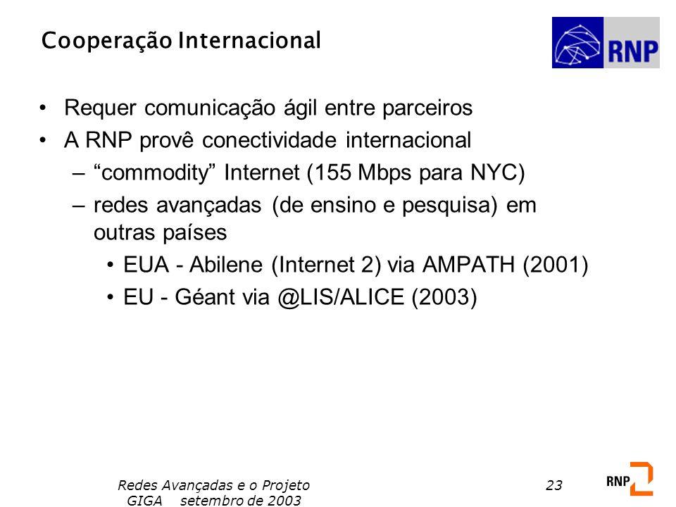 Redes Avançadas e o Projeto GIGA setembro de 2003 23 Cooperação Internacional Requer comunicação ágil entre parceiros A RNP provê conectividade intern