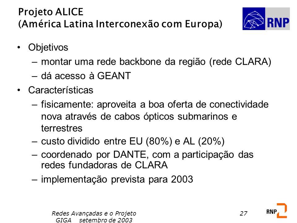 Redes Avançadas e o Projeto GIGA setembro de 2003 27 Projeto ALICE (América Latina Interconexão com Europa) Objetivos –montar uma rede backbone da reg