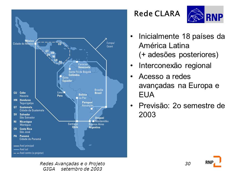 Redes Avançadas e o Projeto GIGA setembro de 2003 30 Rede CLARA Inicialmente 18 países da América Latina (+ adesões posteriores) Interconexão regional