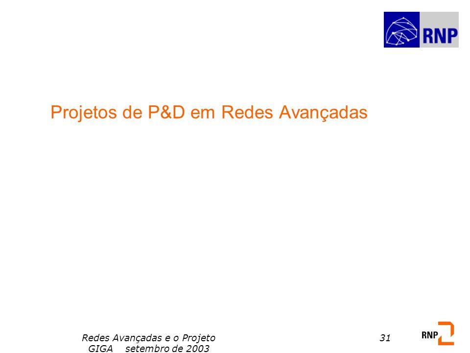 Redes Avançadas e o Projeto GIGA setembro de 2003 31 Projetos de P&D em Redes Avançadas
