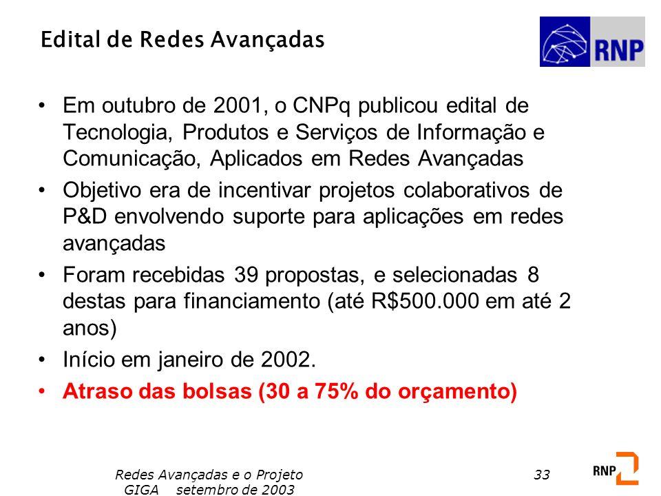 Redes Avançadas e o Projeto GIGA setembro de 2003 33 Edital de Redes Avançadas Em outubro de 2001, o CNPq publicou edital de Tecnologia, Produtos e Se