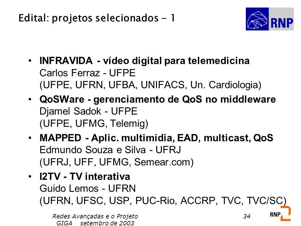 Redes Avançadas e o Projeto GIGA setembro de 2003 34 Edital: projetos selecionados - 1 INFRAVIDA - vídeo digital para telemedicina Carlos Ferraz - UFP