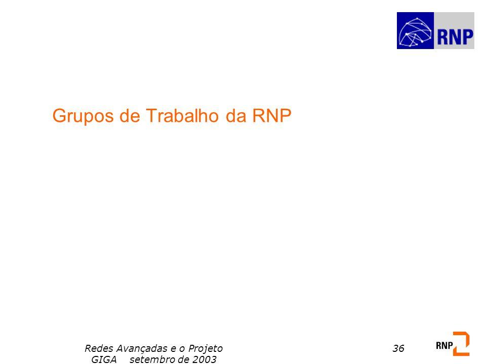 Redes Avançadas e o Projeto GIGA setembro de 2003 36 Grupos de Trabalho da RNP