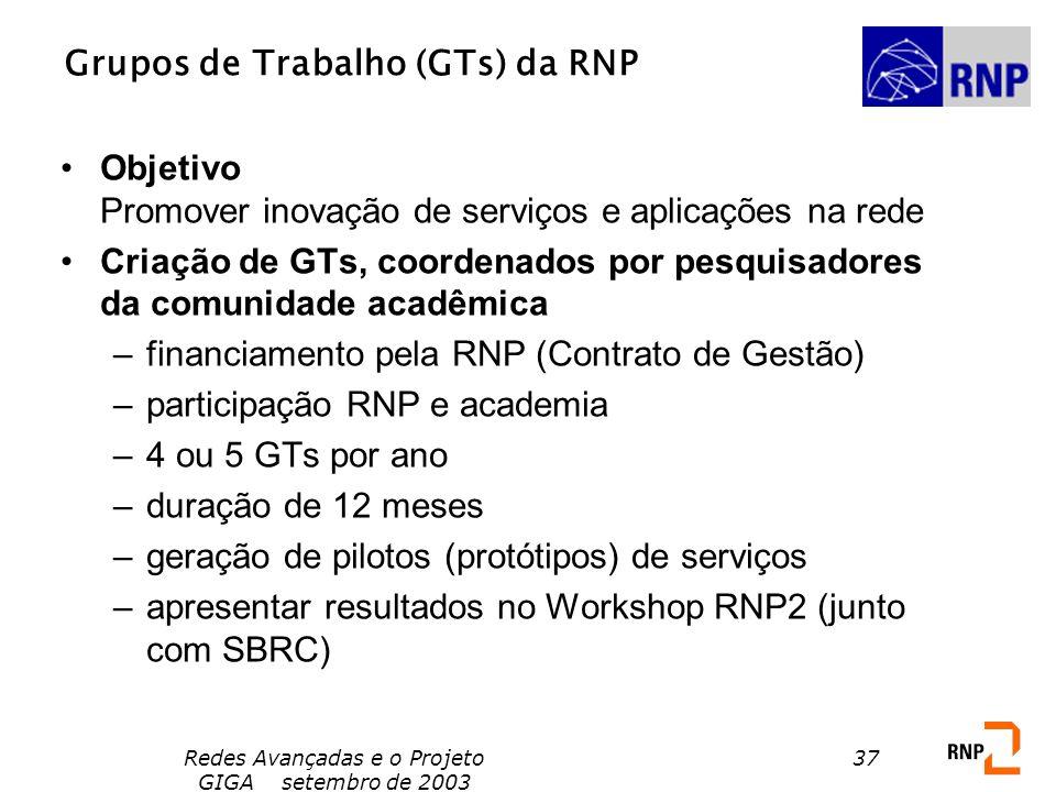 Redes Avançadas e o Projeto GIGA setembro de 2003 37 Grupos de Trabalho (GTs) da RNP Objetivo Promover inovação de serviços e aplicações na rede Criaç