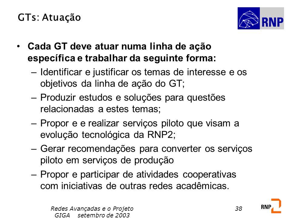Redes Avançadas e o Projeto GIGA setembro de 2003 38 GTs: Atuação Cada GT deve atuar numa linha de ação específica e trabalhar da seguinte forma: –Ide