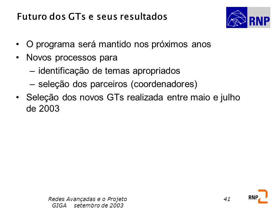 Redes Avançadas e o Projeto GIGA setembro de 2003 41 Futuro dos GTs e seus resultados O programa será mantido nos próximos anos Novos processos para –