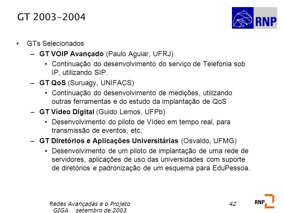 Redes Avançadas e o Projeto GIGA setembro de 2003 42 GT 2003-2004 GTs Selecionados –GT VOIP Avançado (Paulo Aguiar, UFRJ) Continuação do desenvolvimen
