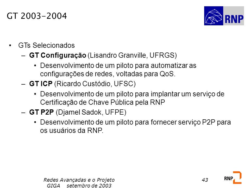 Redes Avançadas e o Projeto GIGA setembro de 2003 43 GT 2003-2004 GTs Selecionados –GT Configuração (Lisandro Granville, UFRGS) Desenvolvimento de um