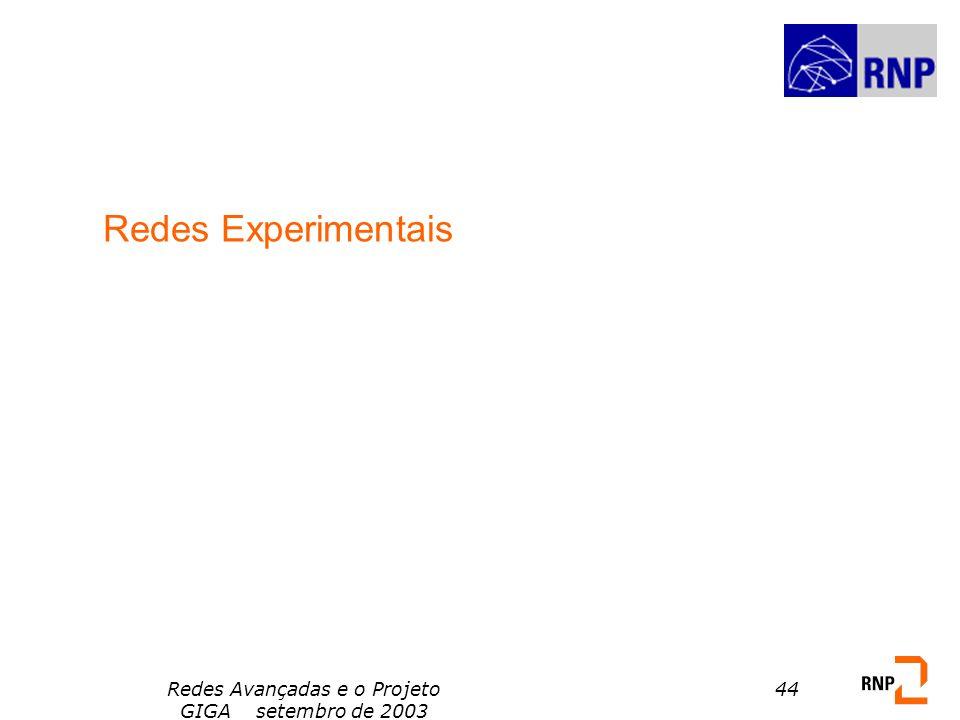 Redes Avançadas e o Projeto GIGA setembro de 2003 44 Redes Experimentais