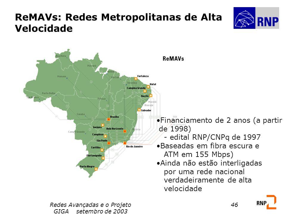 Redes Avançadas e o Projeto GIGA setembro de 2003 46 ReMAVs: Redes Metropolitanas de Alta Velocidade Financiamento de 2 anos (a partir de 1998) - edit