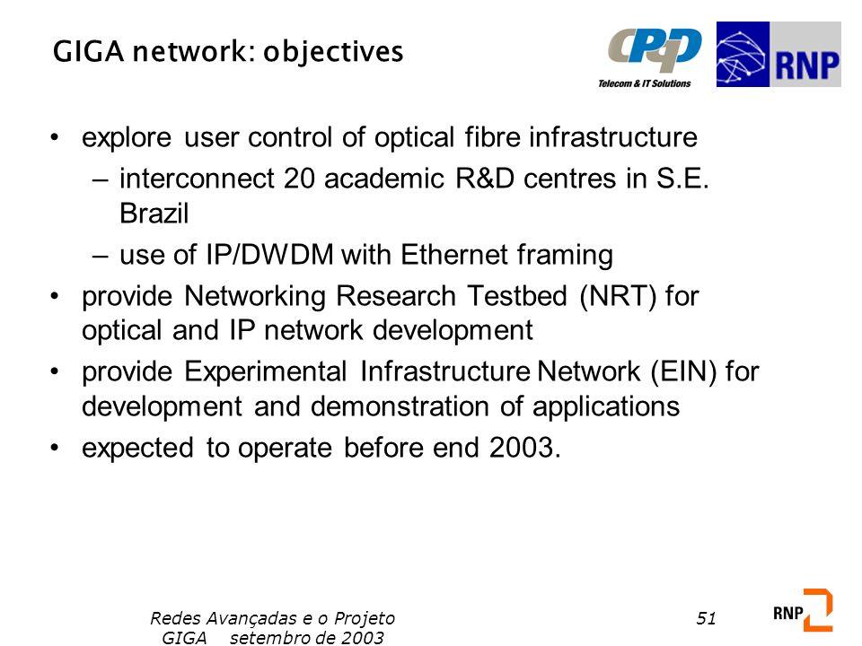 Redes Avançadas e o Projeto GIGA setembro de 2003 51 GIGA network: objectives explore user control of optical fibre infrastructure –interconnect 20 ac