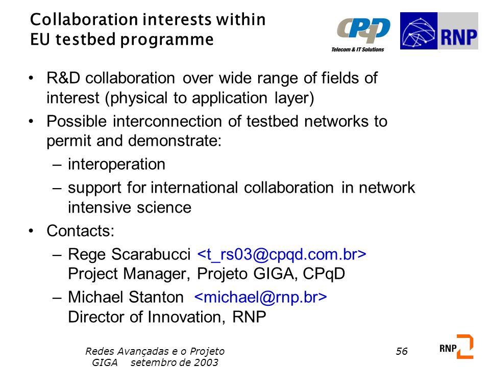 Redes Avançadas e o Projeto GIGA setembro de 2003 56 Collaboration interests within EU testbed programme R&D collaboration over wide range of fields o