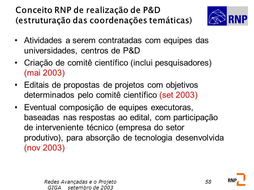 Redes Avançadas e o Projeto GIGA setembro de 2003 58 Conceito RNP de realização de P&D (estruturação das coordenações temáticas) Atividades a serem co