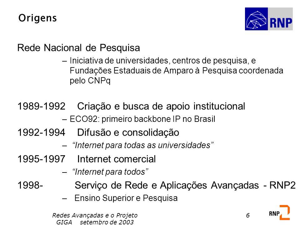 Redes Avançadas e o Projeto GIGA setembro de 2003 6 Origens Rede Nacional de Pesquisa –Iniciativa de universidades, centros de pesquisa, e Fundações E