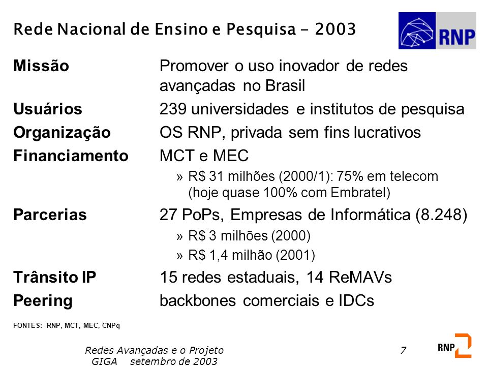 Redes Avançadas e o Projeto GIGA setembro de 2003 48 Some current experimental optical networking projects in Latin America Chile: G-REUNA - Advanced Applications Testbed Brazil: Project GIGA - Optical Networking and Applications Testbed Both of these are a mixture of EIN and NRT (Internet 3 and 4)