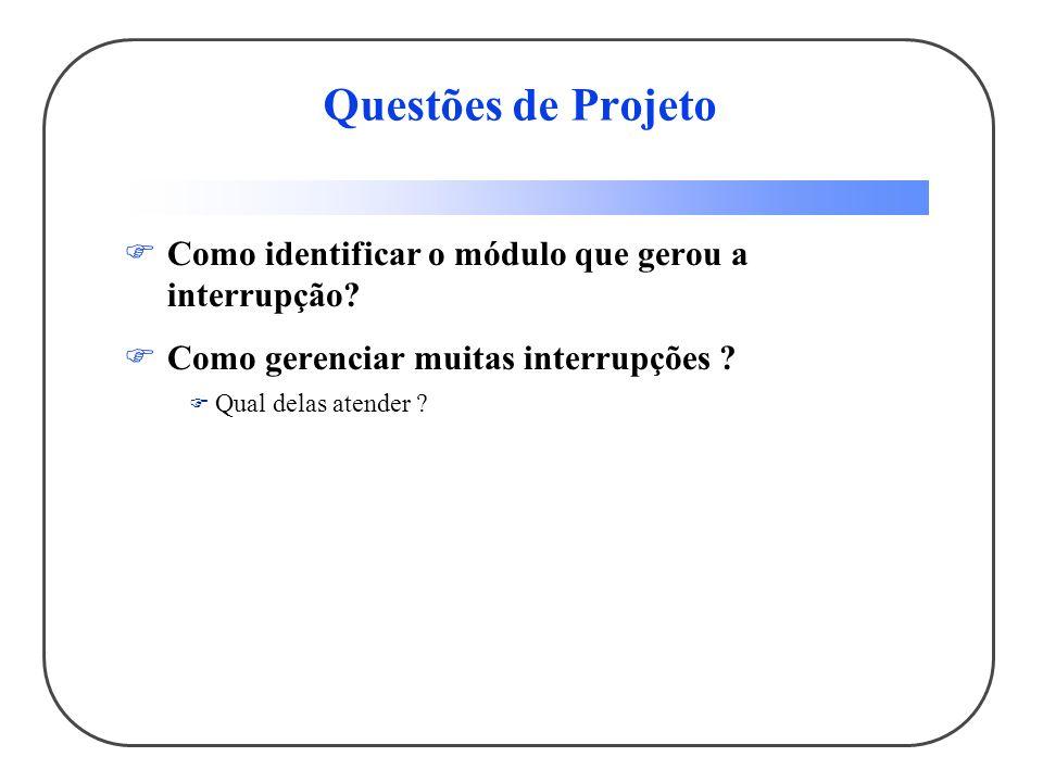 Questões de Projeto Como identificar o módulo que gerou a interrupção? Como gerenciar muitas interrupções ? Qual delas atender ?