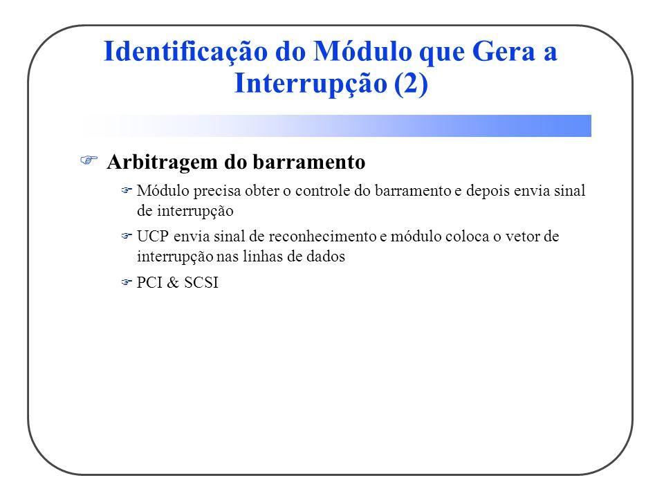 Identificação do Módulo que Gera a Interrupção (2) Arbitragem do barramento Módulo precisa obter o controle do barramento e depois envia sinal de inte