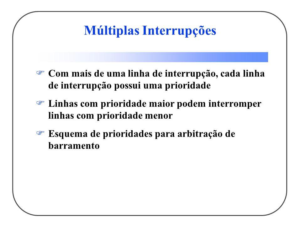 Múltiplas Interrupções Com mais de uma linha de interrupção, cada linha de interrupção possui uma prioridade Linhas com prioridade maior podem interro