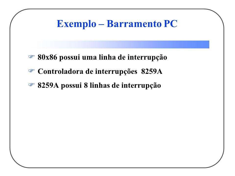 Exemplo – Barramento PC 80x86 possui uma linha de interrupção Controladora de interrupções 8259A 8259A possui 8 linhas de interrupção