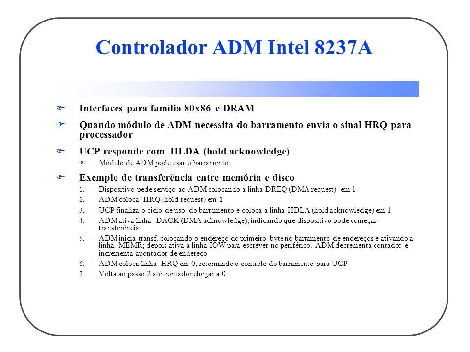 Controlador ADM Intel 8237A Interfaces para família 80x86 e DRAM Quando módulo de ADM necessita do barramento envia o sinal HRQ para processador UCP r