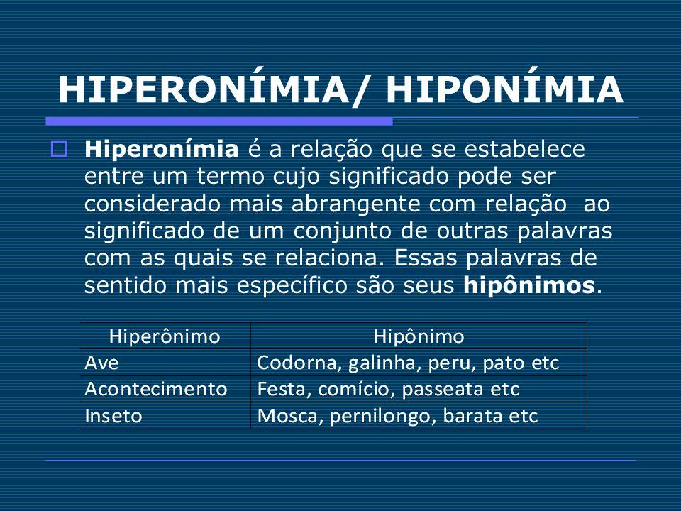HIPERONÍMIA/ HIPONÍMIA Hiperonímia é a relação que se estabelece entre um termo cujo significado pode ser considerado mais abrangente com relação ao s