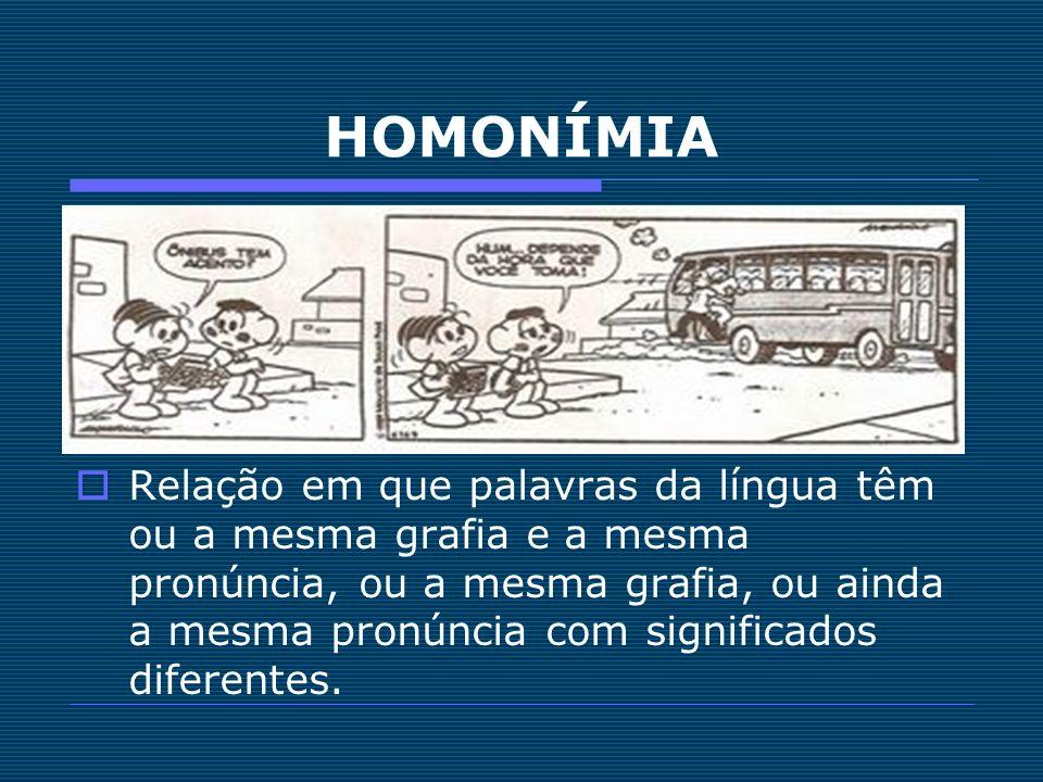 HOMONÍMIA Relação em que palavras da língua têm ou a mesma grafia e a mesma pronúncia, ou a mesma grafia, ou ainda a mesma pronúncia com significados