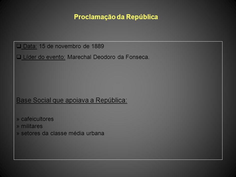 Proclamação da República Data: 15 de novembro de 1889 Líder do evento: Marechal Deodoro da Fonseca.