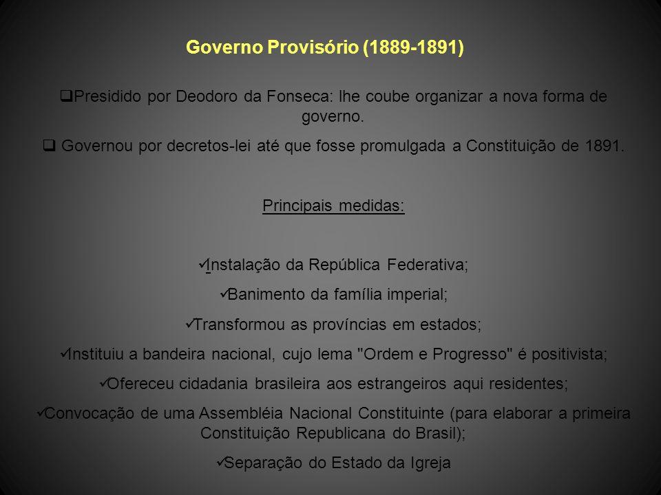 Proclamação da República Data: 15 de novembro de 1889 Líder do evento: Marechal Deodoro da Fonseca. Base Social que apoiava a República: » cafeicultor